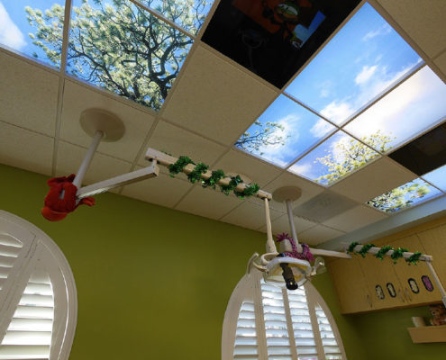 Roof Windows In Dental Exam Room For Kids - Dr. Barrera Campbell CA Pediatric Dentist