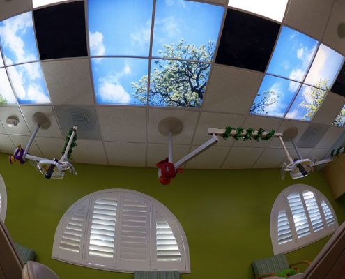 Pretty View Dental Exam Room For Kids - Dr. Barrera Campbell CA Pediatric Dentist
